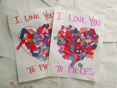 """""""I love you to pieces"""" Valentines Day craft. Link has many other Valentine's Day craft ideas as well. Daycare Crafts, Classroom Crafts, Toddler Crafts, Preschool Crafts, Crafts For Kids, Kinder Valentines, Valentines Day Activities, Valentines Day Party, Valentine Day Crafts"""