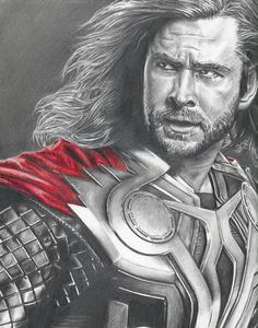 Drawing of Thor Chris Hemsworth from Avengers by JohnDiBiaseArt, $12.00