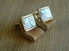 VINTAGE WRAPAROUND MESH CUFFLINKS GOLDTONE WITH MOTHER OF PEARL