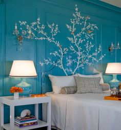 Turquoise wood-paneled walls overlaid with a hand-painted branch and bird mural. Turquoise wood-paneled walls overlaid with a hand-painted branch and bird mural. The branches overlap onto the acrylic headboard. Wall Murals Bedroom, Tree Wall Murals, Bedroom Themes, Bedroom Decor, Bedroom Designs, Wall Art, Bedroom Ideas, My New Room, My Room