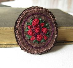 Red Rose Fabric Brooch by Sidereal on Etsy, $25.00