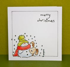 simple Penny Black snowman with dog for Christmas card