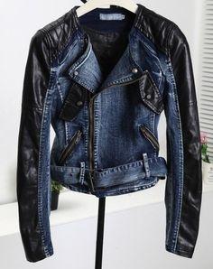 9fe999347b Denim and leather moto jacket Denim Coat