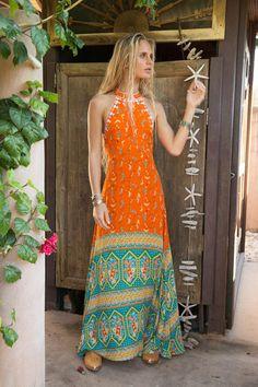 Boho Hippie orange Maxi dress Summer feel free ♦๏~✿✿✿~☼๏♥๏花✨✿写❁~⊱✿ღ~❥ ༺♡༻ FR Sep 2018 ༺♡༻ 💥⊰~ ♥⛩☮️ Mode Hippie, Hippie Style, Bohemian Style, Bohemian Clothing, Bohemian Gypsy, Vintage Bohemian, Trendy Dresses, Nice Dresses, Maxi Dresses