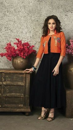 Complement an occasion look utilizing a lovely signal for getting a stunning gown. Pakistani Dresses, Indian Dresses, Indian Outfits, Churidar Designs, Kurta Designs Women, Dress Neck Designs, Blouse Designs, Stylish Dresses, Fashion Dresses