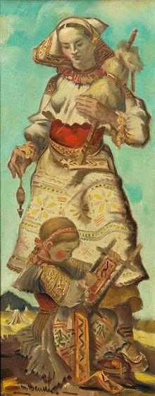 Martin Benka - Slováci   Web umenia Contemporary Decorative Art, Folk Clothing, Naive Art, Flower Art, Statues, Illustrators, Graphic Art, Pop Art, Illustration Art