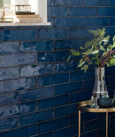 Kitchen wall tiles at Topps Tiles. Express & 24 hour home delivery available, free on all samples Navy Blue Bathrooms, Chic Bathrooms, Bathroom Vanities, Blue Tiles, Blue Glass Tile, Blue Bathroom Tiles, Shower Tiles, Glass Tiles, Home Decor