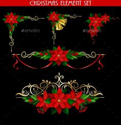 Christmas decoration elements set with evergreen treess holly golden bels and poinsettia isolated on black with swirls for corners