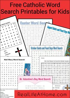 Index of Free Catholic Word Search Printables for Kids | RealLifeAtHome.com