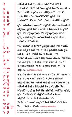 Juliet Shen's typeface for Lushootseed, the language of the Tulalip Native American tribe.