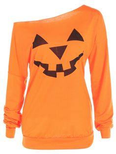 One Shoulder Pumpkin Pattern Halloween Sweatshirt in Yellow Orange S | Sammydress.com