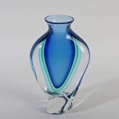 Oball Murano Glas sommerso Michele Onesto signiert Vase twisted groß