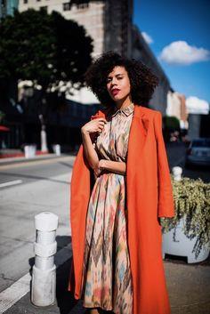 STYLE ME GRASIE - Heidi Finale: Woven Button-Down Shirt, Swing Skirt, Orange Wool Coat