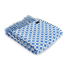 Tweedmill Pure New Wool Crossroads Throw Blanket Sea Blue