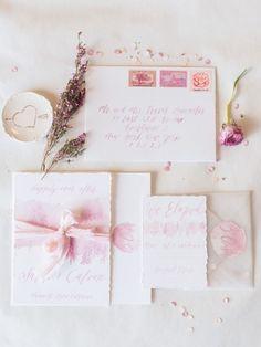 Pretty Pink Watercolour Wedding Invitations