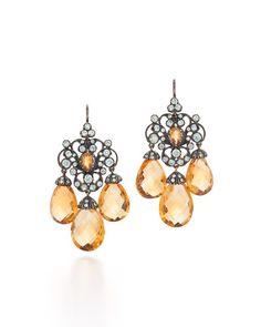 J8978 Fred Leighton Citrine & Diamond Chandelier Earrings