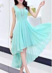 Sleeveless Blue High Low Chiffon Dress on sale only US$31.58 now, buy cheap Sleeveless Blue High Low Chiffon Dress at lulugal.com