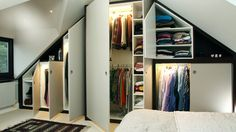 bespoke carpentry - Steve knox - fitted wardrobe in loft with internal lighting Wardrobe Storage, Built In Wardrobe, Bedroom Storage, Made To Measure Wardrobes, Fitted Wardrobes, Attic Master Bedroom, Cabinet Shelving, Wardrobe Solutions, Loft Room