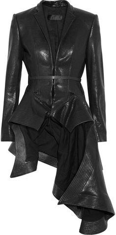 Haider Ackermann Origami Leather Jacket in Black - Lyst Edmondson Edmondson Buttrick another great coat for you v Dark Fashion, Love Fashion, Womens Fashion, London Fashion, Dress Fashion, Style Fashion, High Fashion, Estilo Cool, Mode Lookbook