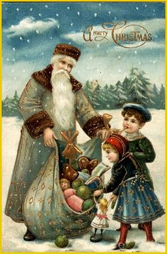 A Merry Christmas with Santa and Toys Santa Claus. Great site for vintage postcards and images. Victorian Christmas, Vintage Christmas Cards, Vintage Cards, Vintage Postcards, Vintage Images, Merry Christmas, Father Christmas, Christmas Colors, Christmas Things