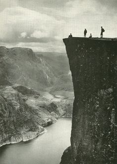 Prekestolen over Lyse Fjord in Norway via Vintage National Geographic    National Geographic | January 1957