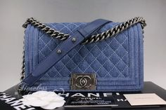 5d01e6147ad0 Timeless Luxuries - CHANEL Blue Denim Boy Quilted Flap Bag Ruthenium Hw