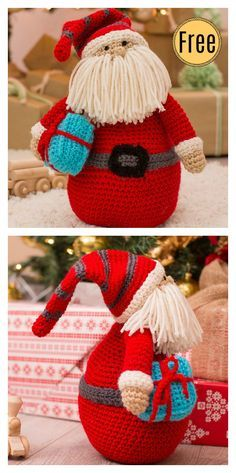 Baby Knitting Patterns Crochet Huggable Santa Pillow - migurumi Crochet Christmas S. Crochet Christmas Decorations, Christmas Crochet Patterns, Holiday Crochet, Crochet Patterns Amigurumi, Baby Knitting Patterns, Crochet Dolls, Amigurumi Doll, Crochet Christmas Hats, Knitting Bags