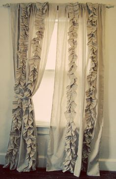 Besserina: Tutorials    I have muslin curtains that I already made in my living room, but have been trying to think of how to embellish them.  Think I'll be heading to Hobby Lobby to get more fabric (with a coupon, super affordable!!!) soon.