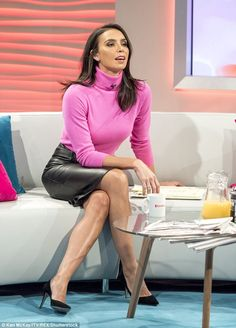 """The Staff Room: """"Ah, you're here for your spanking, Bellamy,"""" Miss Barclay said. """"Close the door: we don't want to be disturbed, do we? Christine Bleakley, Tv Girls, Leather Dresses, Leather Skirts, Tv Presenters, Nice Legs, Leather Fashion, Skirt Fashion, Sexy Legs"""