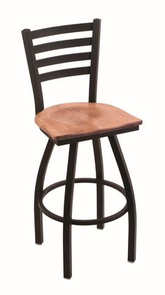 Steel Frame Oak 25 Inch Counter Stool Anodized Nickel Finish Dark