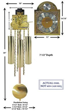 Mechanical Clock Kits - Build a Grandfather Clock with Ease : Clockworks Grandfather Clock Kits, Grandmother Clock, Wall Clock Kits, Mechanical Clock, Kitchen Clocks, Chain Drive, Clock Movements, Wood Sticks, Antique Radio