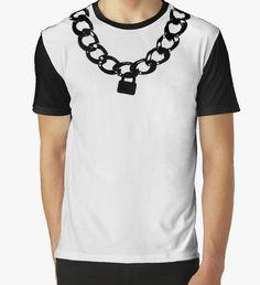 Dog collar chain and padlock print t-shirt. Human pup master, handler and puppy clothing