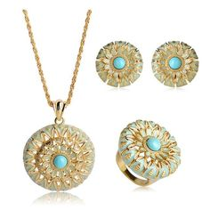 Cheap necklace earring ring sets, Buy Quality enamel jewelry set directly from China jewelry sets Suppliers: Blucome High Quality Dubai Round Flower Necklace Earrings Ring Set Blue Enamel Jewelry Sets Gold Color Large Size Women Bijoux China Jewelry, Enamel Jewelry, Jewelry Sets, Jewelry Accessories, Flower Necklace, Ring Necklace, Cheap Necklaces, Shape Patterns, Blue Gold