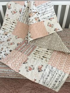 Boho Baby Quilt, Fox Crib Bedding Girl, Woodland Nursery Girl, Fawn Baby Bedding, Boho Crib Bedding, Baby Blanket Girl, Boho Woodland Girl. Colors featured; Gray, Beige, Pink, Mauve and Navy. This listing is for a baby quilt. It features 3 total layers and has light to medium weight. The