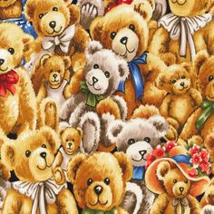 Bears Fabric / Bear Hugs Tossed Fabric / Teddy Bear Fabric / Fabri-Quilt 112-29401  / Fat Quarters and Yardage by SewWhatQuiltShop on Etsy