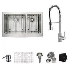 "Kraus KHF203-33-KPF1612-KSD30CH 33"" Farmhouse Steel Sink Chrome"