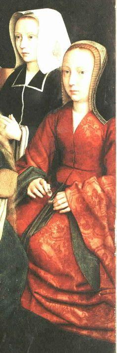 Gerard David, 1509 Detail from Virgin among Virgins. Franco-Flemish Netherlandish transitional gowns: 'V'-Necks & 'Wrap'/Coat-Style Costume Renaissance, Renaissance Clothing, Renaissance Fashion, Historical Clothing, 1500s Fashion, Tudor Fashion, Tudor Era, Tudor Style, 16th Century Fashion