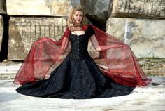 Costume Corset black gown dress fantasy medieval by valchiria, $350.00