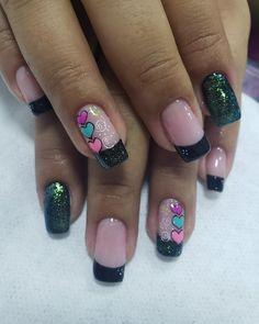 Sns Nails, Cute Nails, Elegant Nail Designs, Nail Art Designs, Mani Pedi, Manicure, Valentine Nail Art, Heart Nails, Perfect Nails