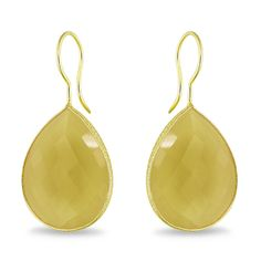 Miadora Goldtone Pear-cut Double Checkerboard Gemstone Earrings (28ct TGW)   Overstock.com
