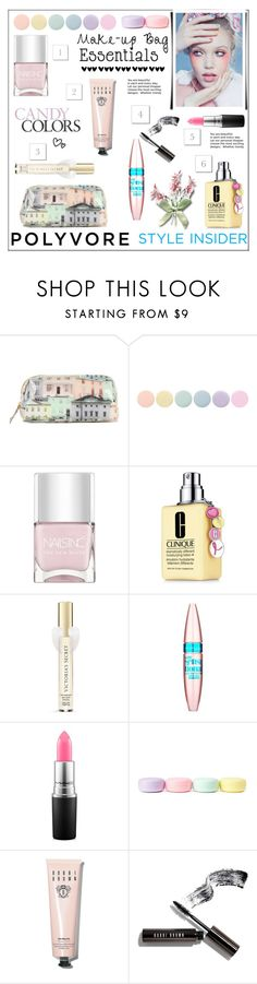 """""""Make-up Bag Essentials (T.S.)"""" by pat912 ❤ liked on Polyvore featuring beauty, Ted Baker, Deborah Lippmann, Nails Inc., Clinique, Victoria's Secret, Maybelline, MAC Cosmetics, Forever 21 and Bobbi Brown Cosmetics"""