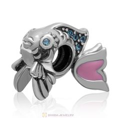 Cute Fish Charm with Aquamarine Crystal and Pink Movable Tail in 925 Sterling Silver -European Beads-925 silver European Beads ( 925 sterling silver )-Sterling Silver European Beads, Bamboo Earrings, Bubble necklace, Silver Beads and charms Bracelets, China Beads Supplier - Doodajewelry