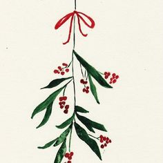Mistletoe als Alu-Dibond Druck von Nathalie Köslin Watercolor Christmas Cards, Christmas Drawing, Diy Christmas Cards, Christmas Paintings, Watercolor Cards, Xmas Cards, Christmas Art, Winter Christmas, Holiday Cards