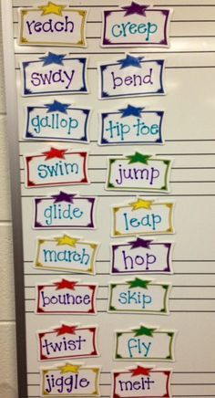 """I've been thinking about creative ways for my kids to get the """"wiggles"""" out, especially BOYS. :) Once we learn about verbs, maybe have a huge selection of fun action verbs (like the ones here) for the kids to choose to act out, maybe even as a prize for being good."""