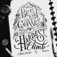 Check out some of the most beautiful hand-lettered quotes to inspire you - hand lettering Hand Lettering Quotes, Creative Lettering, Typography Quotes, Typography Inspiration, Brush Lettering, Lettering Design, Fonts Quotes, Art Quotes, Calligraphy Artist