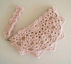 Crochet Shell Clutch # crochet handbags for girls Cherry Blossom Girl Crochet Shell Clutch - RESERVED for Mary-Margaret Crochet Pouch, Crochet Yarn, Crochet Flowers, Free Crochet, Easy Crochet, Crochet Motifs, Crochet Stitches Patterns, Crochet Designs, Crochet Handbags