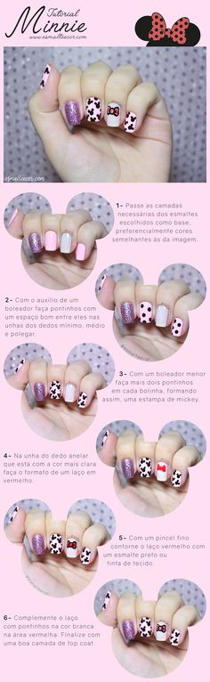 tutorial nail art unha decorada disney passo a passo Minnie