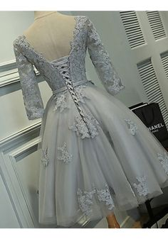 Gray Homecoming Dresses with Half Sleeves,Lace Appliqued Short Prom Dresses · DidoPromCouture · Online Store Powered by Storenvy Grey Bridesmaid Dresses Short, Short Sleeve Prom Dresses, Lace Homecoming Dresses, Prom Dresses For Sale, Tulle Prom Dress, Grad Dresses, Prom Party Dresses, Dance Dresses, Lace Dress