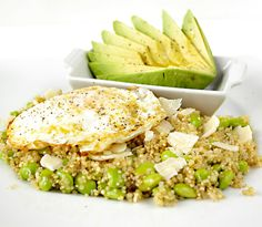 Quinoa with Edamame, Parmesan, and Egg. I wonder if I can do a local-Romanian-shop-friendly version of this.