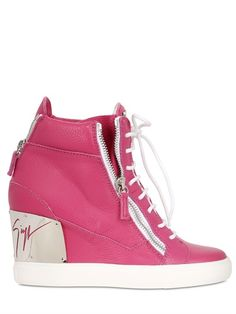 90MM TUMBLED LEATHER WEDGE SNEAKERS